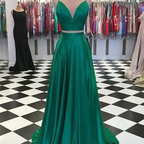 Two Piece Green Prom Dresses Spaghetti Straps Evening Party Dresses