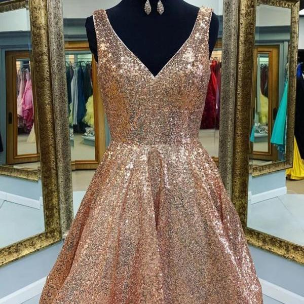 Sequins Short Prom Dress Gold A-line V-Neck Homecoming Dress