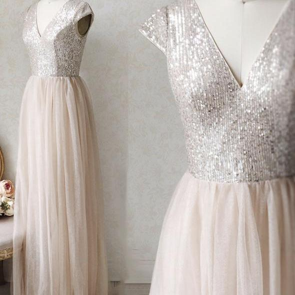 A line v neck tulle sequins long prom dress evening dresses