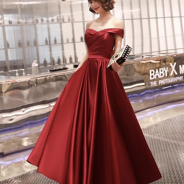 Beautiful Burgundy satin long prom dresses evening dres