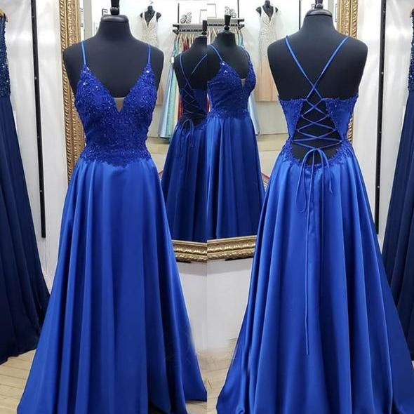 Royal Blue Spaghetti Straps Lace Applique A Line long prom dresses evening dress